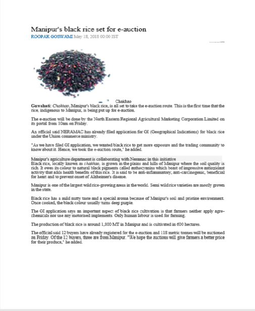 E-Auction of Black Rice in Imphal, Manipur May 2018